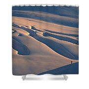 Skier And Crevasse Patterns At Sunset Shower Curtain