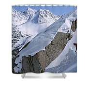 Skier Phil Atkinson Skis A Gully Shower Curtain
