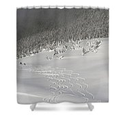 Skiers At The Base Of A Mountain Shower Curtain