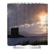 Skies Ablaze At Castle Stalker Shower Curtain