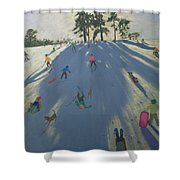 Skiing Shower Curtain by Andrew Macara