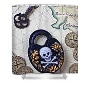 Skull And Cross Bones Lock Shower Curtain