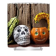 Skull And Jack-o-lantern Shower Curtain