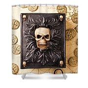 Skull Box With Skeleton Key Shower Curtain