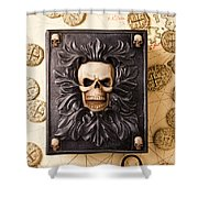 Skull Box With Skeleton Key Shower Curtain