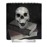 Skull On Books Shower Curtain by Joana Kruse