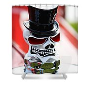 Skull With Top Hat Hood Ornament Shower Curtain