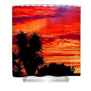 Morro Bay California Sky Fire Shower Curtain