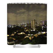 Skyline Of A Part Of Singapore At Night Shower Curtain