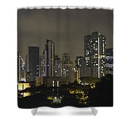 Skyline Of Singapore At Night As Seen From An Apartment Complex Shower Curtain