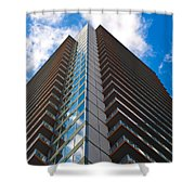 Skyscraper Front View With Blue Sky Shower Curtain