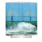 Skyway Splash Shower Curtain by David Lee Thompson