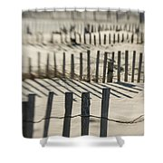 Slats Of Wooden Fence Throwing Shadows Shower Curtain