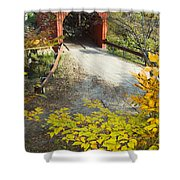 Slaughter House Bridge And Fall Colors Shower Curtain