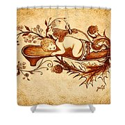 Sleeping Angel Original Coffee Painting Shower Curtain
