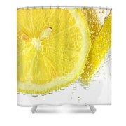 Sliced Lemon In Fizzy Water Shower Curtain
