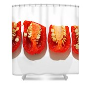 Sliced Red Peppers Shower Curtain