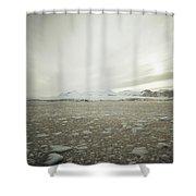 Slush Fills The Sea Under A Cloudy Sky Shower Curtain