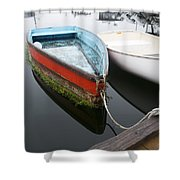Small Boat In Harbor Shower Curtain