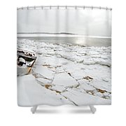 Small Boat Sits On Ice Chuncks In Wellfleet On Cape Cod In Winte Shower Curtain