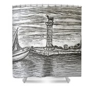 Small Boats At Rhodes Port Shower Curtain