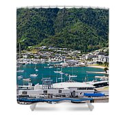 Small Idyllic Yacht Harbor  Shower Curtain