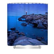 Small Lighthouse And House At Dusk Shower Curtain
