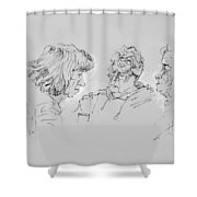 Small Talk  Over Coffee Shower Curtain by Ylli Haruni
