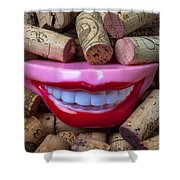 Smile Among Wine Corks Shower Curtain