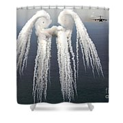Smoke Angel Created By Wingtip Vortices Shower Curtain by Photo Researchers