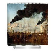 Smoke Billows From The Exxon Oil Shower Curtain