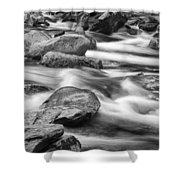 Smokey Mountain Stream Of Flowing Water Over Rocks Shower Curtain