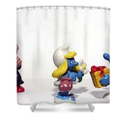 Smurf Figurines Shower Curtain by Amir Paz