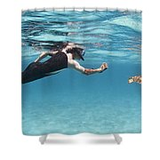 Snorkeler Photographing Green Turtle Shower Curtain