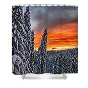 Snow And Sunrise Shower Curtain