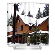 Snow Atop The Inn At Longmire Shower Curtain by Kathy  White