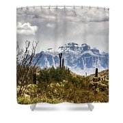 Snow Atop The Superstitions Shower Curtain