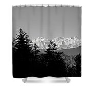 Snow-capped Mountain And Trees Shower Curtain