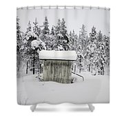 Snow Covered Cabin By Forest Shower Curtain