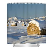 Snow-covered Hay Bales Okotoks Shower Curtain by Michael Interisano