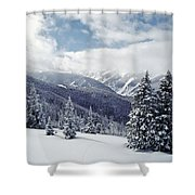 Snow Covered Pine Trees On Mountain Shower Curtain