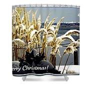 Snow Dust Christmas Card Shower Curtain