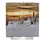 Snow Fence On Horizon Shower Curtain