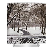 Snow In Central Park Shower Curtain