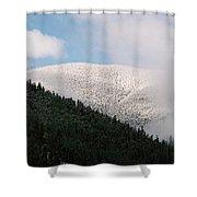 Snow On Black Mountain Shower Curtain