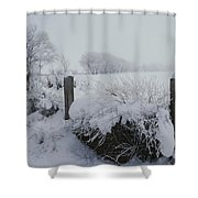 Snow, Rime Ice, And Fog Cover Shower Curtain