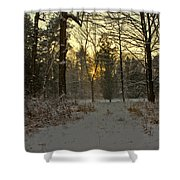 Snow Storm Sunset Shower Curtain