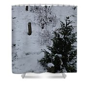 Snow With Small Tree Shower Curtain