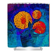 Snowball Plant Abstract 2 Shower Curtain