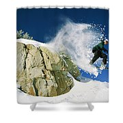 Snowboarder Jumping Off A Big Rock Shower Curtain